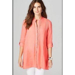 J Jill Linen Grapefruit Long Sleeve Tunic Size Lar